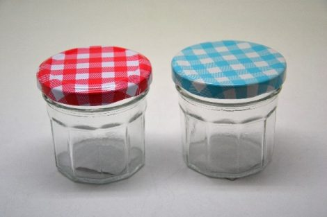 Befőttesüveg mini tízszögletes kockás tetővel 80 ml 6,5*6,5 cm