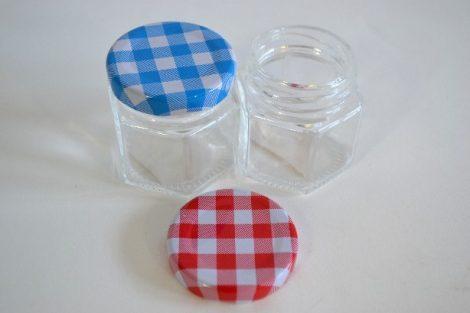 Befőttesüveg mini hatszögletes kockás tetővel 65 ml