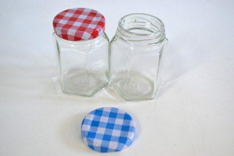 Befőttesüveg mini hatszögletes kockás tetővel 100 ml