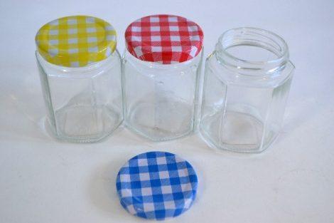Befőttesüveg mini hatszögletes kockás tetővel 170 ml