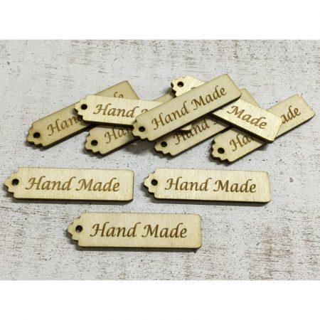 Fa táblácska Hand Made felirattal kb. 65*16*3 mm