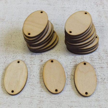Fa ovális táblácskák két lyukkal kb. 40*20 mm - 6 db