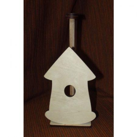 Fa papírtörlő tartó házacska - kb. 120*195*6 mm