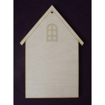 Fa alap - házikó gravírozott mintával kb. 150*265*5 mm