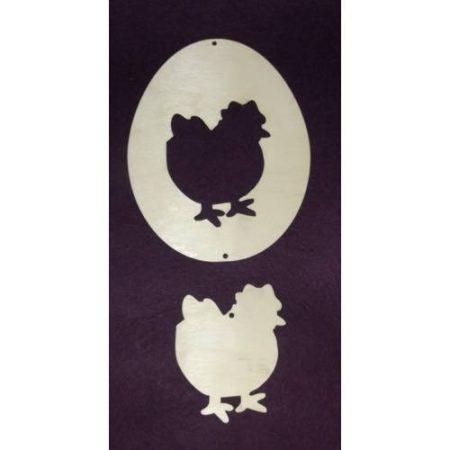 Fa tojás - középen kivágott kb. 118*150*3 mm, plusz tyúk70*80*3 mm