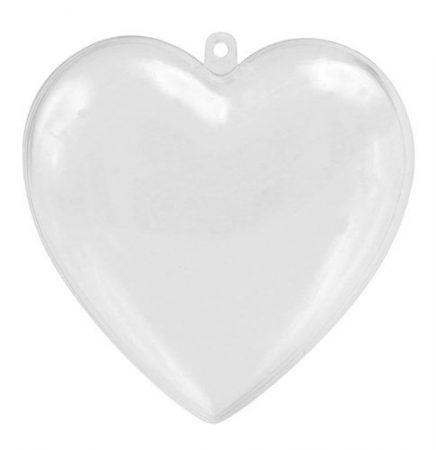 Átlátszó műanyag szív 8 cm
