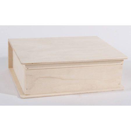 Fa doboz könyv formájú kb. 24*19*9 cm