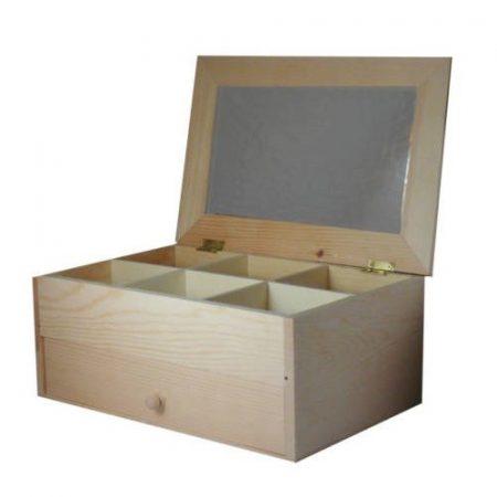 Fa tükrös gyöngy doboz nagy - rekeszekkel, fiókkal - kb. 25*16,5*11 cm